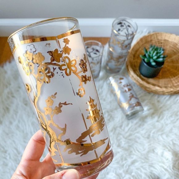 Vintage MCM Fred Press Gold Gilt and Frosted Overly Chinoiserie Glasses Set of 5